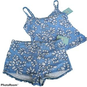 Jantzen 2 Pieces Set Tankini & Boy Shorts Floral